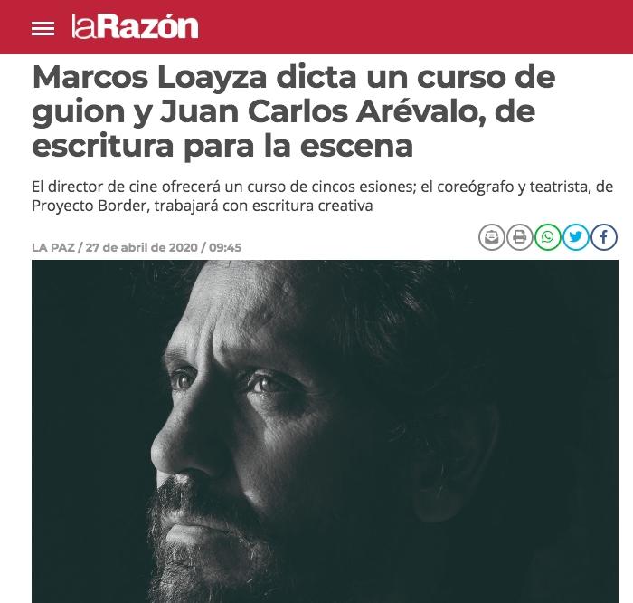 Marcos Loayza dicta un curso de guion