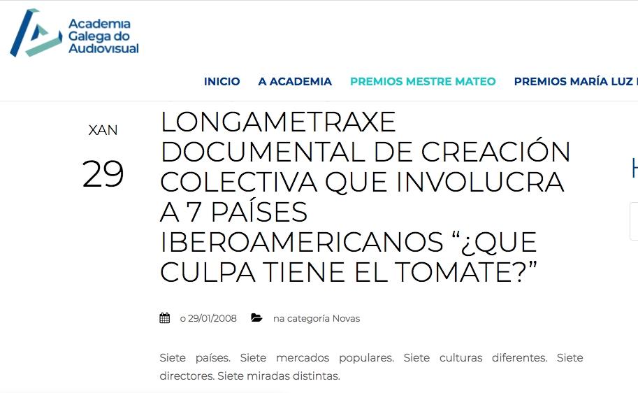 """CHEGA A BOLIVIA A LONGAMETRAXE DOCUMENTAL DE CREACIÓN COLECTIVA QUE INVOLUCRA A 7 PAÍSES IBEROAMERICANOS """"¿QUE CULPA TIENE EL TOMATE?"""""""
