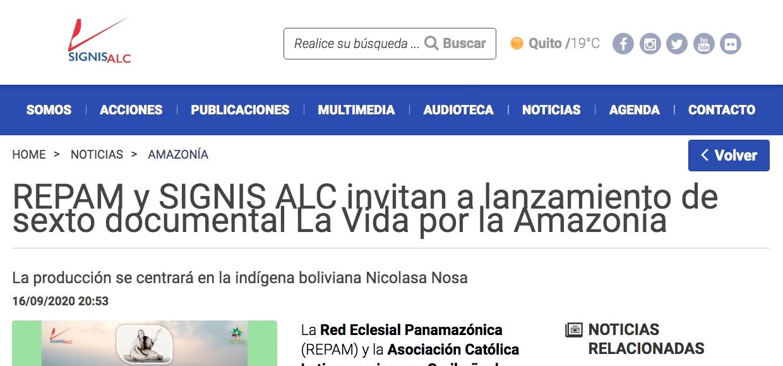 REPAM y SIGNIS ALC invitan a lanzamiento de sexto documental La Vida por la Amazonía