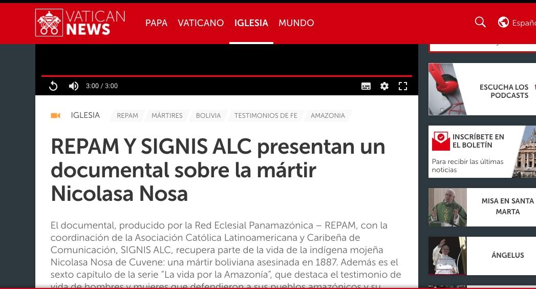 REPAM Y SIGNIS ALC presentan un documental sobre la mártir Nicolasa Nosa