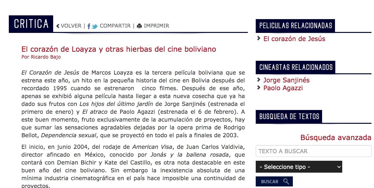 El corazón de Loayza y otras hierbas del cine boliviano
