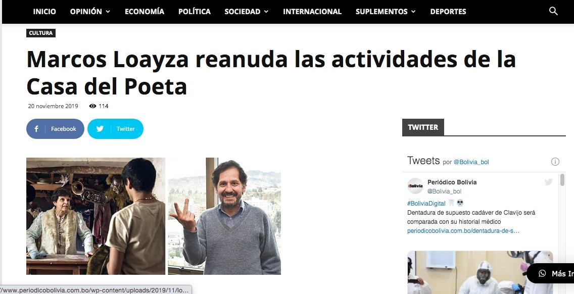 Marcos Loayza reanuda las actividades de la Casa del Poeta