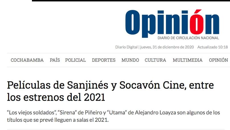 Películas de Sanjinés y Socavón Cine, entre los estrenos del 2021