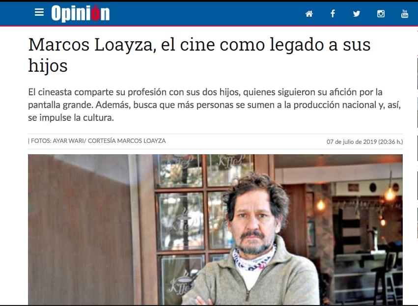 Marcos Loayza, el cine como legado a sus hijos