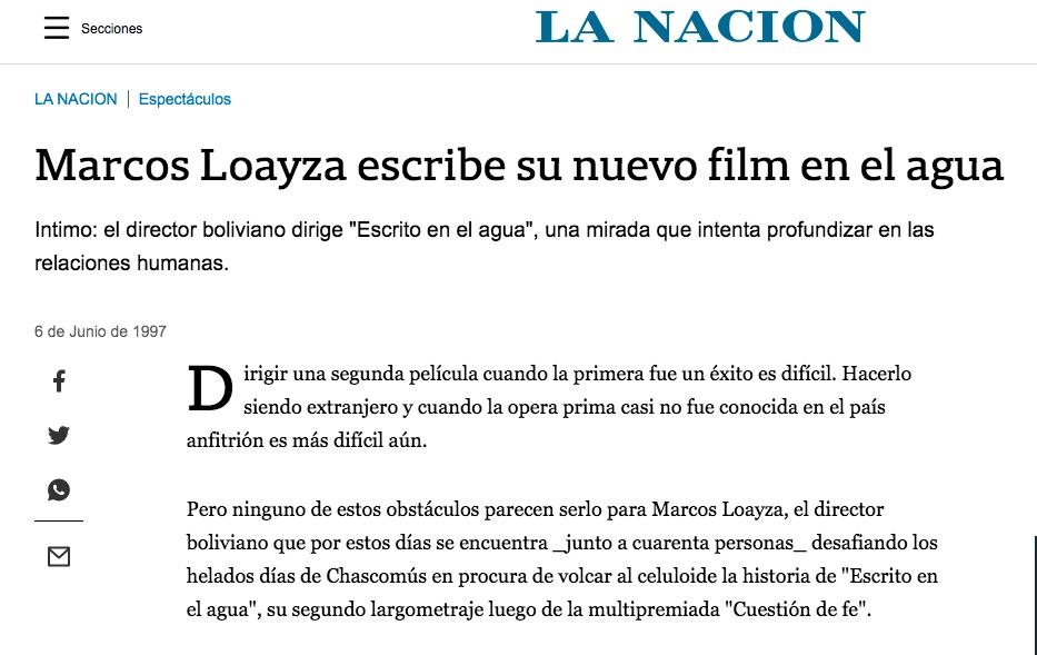 Marcos Loayza escribe su nuevo film en el agua